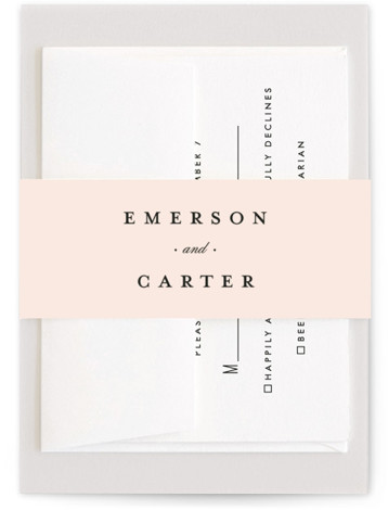 This is a classic and formal, pink Belly Bands by Stacey Meacham called Classic Label with Standard printing on Signature Text in Belly Band Flat Card format. An elegant, unisex wedding invitation with a foil frame and inset type.