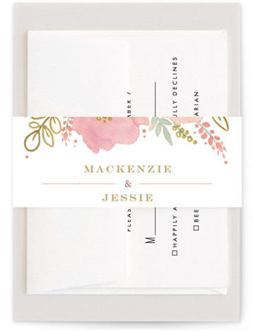 This is a pink, yellow Belly Bands by Kristen Smith called Floral Vignette with Standard printing on Signature Text in Belly Band Flat Card format. This watercolor floral embellished save the date is perfect for a garden wedding