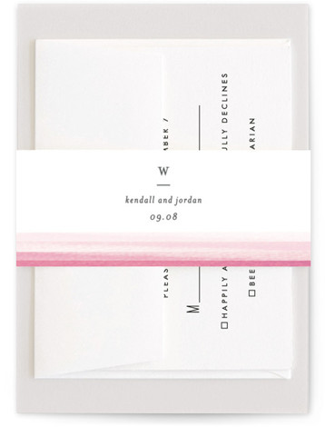 This is a pink, red Belly Bands by Bethan called Watercolour Stripe with Standard printing on Signature Text in Belly Band Flat Card format. A modern and elegant non photo save the date with watercolor stripe edges.