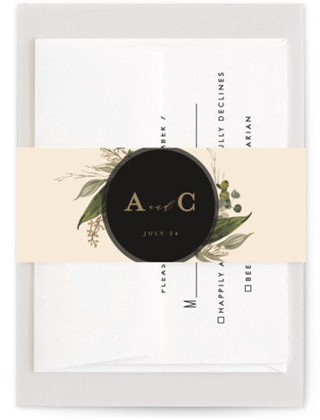 This is a botanical, black, gold Belly Bands by Susan Moyal called Natures Greens with Standard printing on Signature Text in Belly Band Flat Card format. This wedding invitation design features a circular frame of hand drawn greenery
