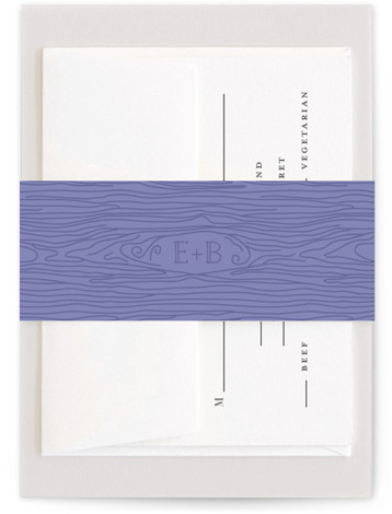 This is a blue, classic colors Belly Bands by Ariel Rutland called Mountain View with Standard printing on Signature Text in Belly Band Flat Card format. A mountaintop view frames a wedding invitation for the nature loving couple.