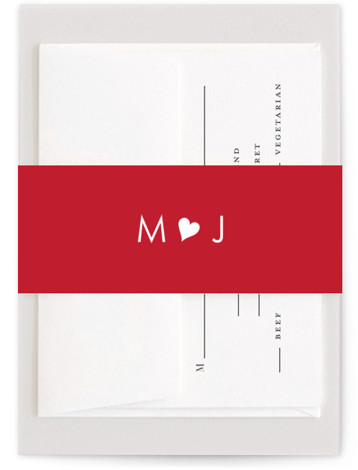 This is a simple and minimalist, whimsical, red Belly Bands by Kim Dietrich Elam called Love Connection with Standard printing on Signature Text in Belly Band Flat Card format. Select a matching belly band to hold together your wedding suite ...