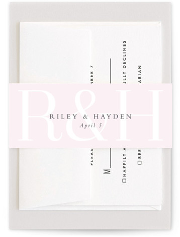 This is a pink Belly Bands by Lea Delaveris called over and over with Standard printing on Signature Text in Belly Band Flat Card format. This simple yet elegant design is type driven, featuring the bride's and groom's initials and ...