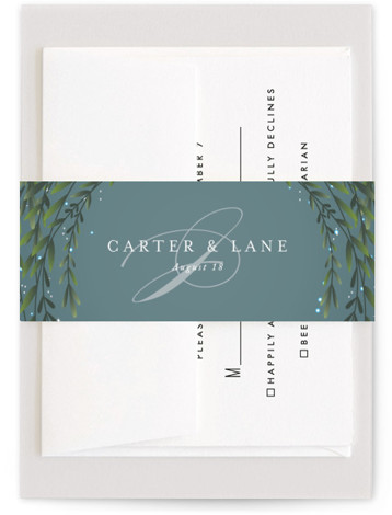 This is a blue Belly Bands by Jennifer Postorino called Dreamkeeper with Standard printing on Signature Text in Belly Band Flat Card format. This enchanting wedding invitation features elegant type, lush greens and a magical night sky.