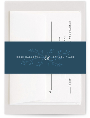This is a simple and minimalist, blue Belly Bands by Emmeline Bramble called A Dash of Delight with Standard printing on Signature Text in Belly Band Flat Card format. This refined, minimal wedding invitation highlights the elegance of the occasion ...