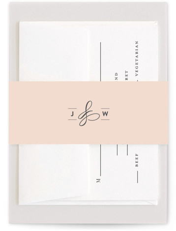 This is a bold and typographic, modern, pink Belly Bands by Ariel Rutland called Twirl Monogram A with Standard printing on Signature Text in Belly Band Flat Card format. Elegant and swirly initials accent this sophisticated modern invitation