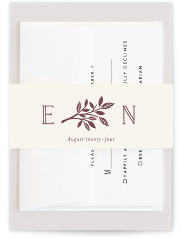 This is a metallic, monogrammed, rustic, brown Belly Bands by Griffinbell Paper Co. called Enchanted with Standard printing on Signature Text in Belly Band Flat Card format. A simple, graphic sweetheart tree in rose gold is the focal point of ...