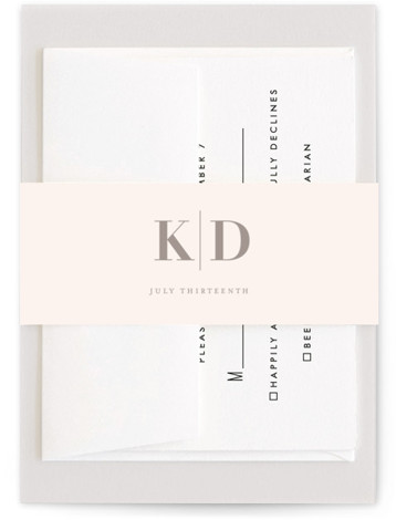This is a grey Belly Bands by Kelly Schmidt called The Minimalist with Standard printing on Signature Text in Belly Band Flat Card format. A clean and classic black and white design featuring bold typography for the couple's names