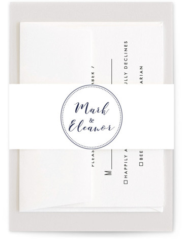 This is a simple and minimalist, blue Belly Bands by Hudson Meet Rose called Wedding Stamp with Standard printing on Signature Text in Belly Band Flat Card format. This wedding invitation features a kraft background with classic fonts.