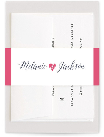 This is a bold and typographic, whimsical, pink Belly Bands by Sarah Curry called Heartbeat with Standard printing on Signature Text in Belly Band Flat Card format. This invitation features the couple's names in elegant calligraphy script and a sweet ...