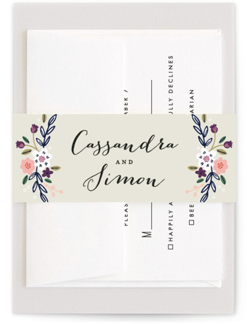 This is a botanical, rustic, purple Belly Bands by Alethea and Ruth called Wildflower Crest with Standard printing on Signature Text in Belly Band Flat Card format. This wedding invitation features a wildflower wreath surrounding the bride and groom's names. ...