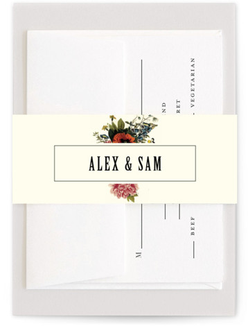 This is a botanical, beige Belly Bands by Alisa Wismer called Vintage Garden Invite with Standard printing on Signature Text in Belly Band Flat Card format. A vintage botanical garden theme invitation perfect for the modern green thumb couple.