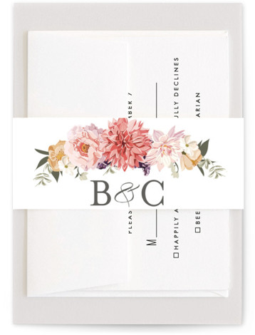 This is a pink, colorful Belly Bands by Susan Moyal called Garden Wedding with Standard printing on Signature Text in Belly Band Flat Card format. This wedding invitation features an array of pretty flowers and trailing vines.