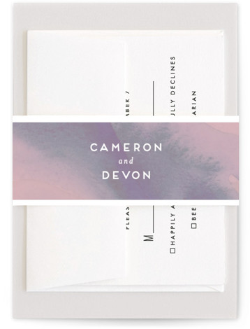 This is a pink Belly Bands by Krissy Bengtson called Tide Pools with Standard printing on Signature Text in Belly Band Flat Card format. This wedding invitation features simple typography and a hand painted background inspired by ocean tide pools. ...