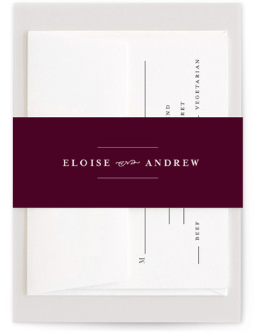 This is a classic and formal, purple Belly Bands by Lea Delaveris called a grand day with Standard printing on Signature Text in Belly Band Flat Card format. With simple but elegant typography, this wedding invitation evokes a classic style ...