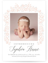 This is a pink letterpress birth announcement by Jessica Williams called Floral Wrap with letterpress printing on bright white letterpress paper in standard.