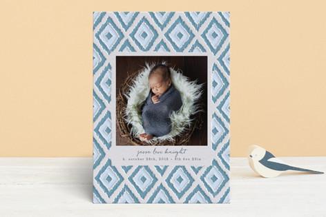 Handdrawn iKat Pattern Letterpress Birth Announcements