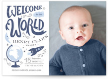 This is a blue letterpress birth announcement by Griffinbell Paper Co. called Blast Off with letterpress printing on bright white letterpress paper in standard.