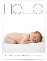 This is a grey letterpress birth announcement by Baumbirdy called Big Bold Hello with letterpress printing on bright white letterpress paper in standard.