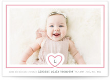 This is a pink letterpress birth announcement by Kimberly Chow called lil heart with letterpress printing on bright white letterpress paper in standard.