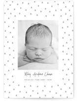 This is a black letterpress birth announcement by Melissa Casey called Geometric trees with letterpress printing on bright white letterpress paper in standard.