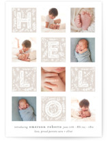 This is a grey letterpress birth announcement by Bethan called Handmade Hello with letterpress printing on bright white letterpress paper in standard.