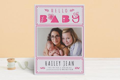 little birdie Letterpress Birth Announcements