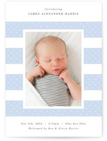 This is a blue letterpress birth announcement by Hooray Creative called Dotted Stripes with letterpress printing on bright white letterpress paper in standard.