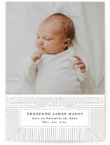 This is a brown letterpress birth announcement by Alethea and Ruth called Organic Lines with letterpress printing on bright white letterpress paper in standard.