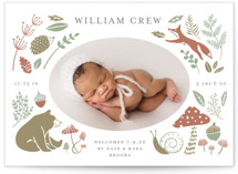 This is a green letterpress birth announcement by Bonnie Davis called Forest Friends with letterpress printing on bright white letterpress paper in standard.