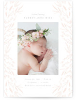 This is a pink letterpress birth announcement by Nicoletta Savod called Botanica with letterpress printing on bright white letterpress paper in standard.