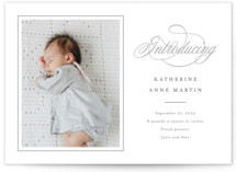 This is a grey letterpress birth announcement by Carolyn MacLaren called Sweet Traditions with letterpress printing on bright white letterpress paper in standard.