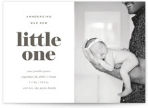This is a black letterpress birth announcement by JoAnn Jinks called Serif with letterpress printing on bright white letterpress paper in standard.