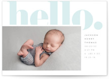 This is a blue letterpress birth announcement by Erin Deegan called hello hi with letterpress printing on bright white letterpress paper in standard.