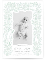 This is a green letterpress birth announcement by Shannon Chen called Woodland with letterpress printing on bright white letterpress paper in standard.