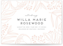 This is a pink letterpress birth announcement by Genna Blackburn called Impression with letterpress printing on bright white letterpress paper in standard.