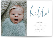 This is a blue letterpress birth announcement by Crisby called Hello Love with letterpress printing on bright white letterpress paper in standard.