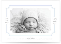 This is a blue letterpress birth announcement by Sarah Brown called Simple and Sweet with letterpress printing on bright white letterpress paper in standard.
