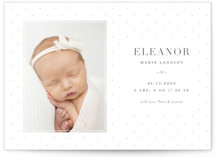 This is a purple letterpress birth announcement by Sarah Brown called Dainty Dots with letterpress printing on bright white letterpress paper in standard.