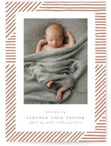 This is a brown letterpress birth announcement by Michelle Taylor called Lines with letterpress printing on bright white letterpress paper in standard.