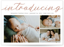 This is a brown letterpress birth announcement by Carolyn MacLaren called Big Introductions with letterpress printing on bright white letterpress paper in standard.