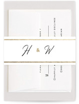 This is a black and white belly band by Minted called Chic Initials with foil-pressed printing on signature text in belly band.