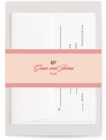 This is a illustrative, offbeat, whimsical, pink, rosegold Belly Bands by Letter19Design called Journey Together with Foil Pressed printing on Signature Text in Belly Band Flat Card format. A fun, colorful, unique wedding invitation for a playful couple.
