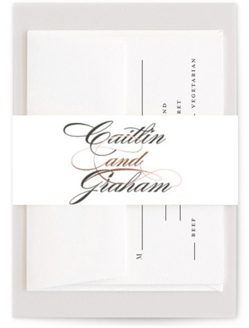 This is a bold typographic, traditional, grey, rosegold Belly Bands by Olivia Raufman called Cordial Flourish with Foil Pressed printing on Signature Text in Belly Band Flat Card format. A traditional wedding invitation with modern flair, featuring bold script and ...