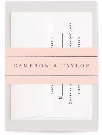 This is a pink Belly Bands by Fig and Cotton called Gold Bars with Foil Pressed printing on Signature Text in Belly Band Flat Card format. This masculine invitation is perfect for any formal affair.