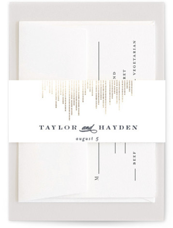 This is a modern, white Belly Bands by Shirley Lin Schneider called Sparkle with Foil Pressed printing on Signature Text in Belly Band Flat Card format. A minimalist yet elegant wedding invitation featuring hand drawn dotted lines perfect for a ...