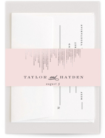 This is a pink Belly Bands by Shirley Lin Schneider called Sparkle with Foil Pressed printing on Signature Text in Belly Band Flat Card format. A minimalist yet elegant wedding invitation featuring hand drawn dotted lines perfect for a formal ...
