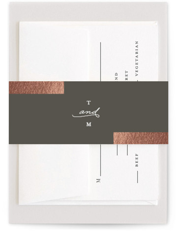 This is a modern, simple, grey Belly Bands by Genna Cowsert called Gallant with Foil Pressed printing on Signature Text in Belly Band Flat Card format. This chic wedding invitation features foil bars highlighting the typography.