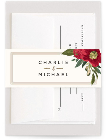 This is a botanical, painterly, gold, green, red Belly Bands by Susan Moyal called Garden Blooms with Foil Pressed printing on Signature Text in Belly Band Flat Card format. This wedding design features a hand drawn floral frame