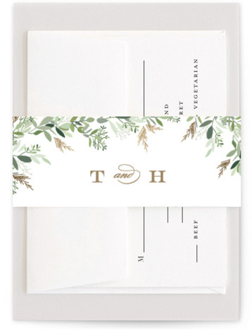 This is a portrait botanical, rustic, brown Belly Bands by Jennifer Postorino called Trailing Vine with Foil Pressed printing on Signature Text in Belly Band Flat Card format. Beautiful hand drawn trailing greenery softly surrounds classic type in this airy ...